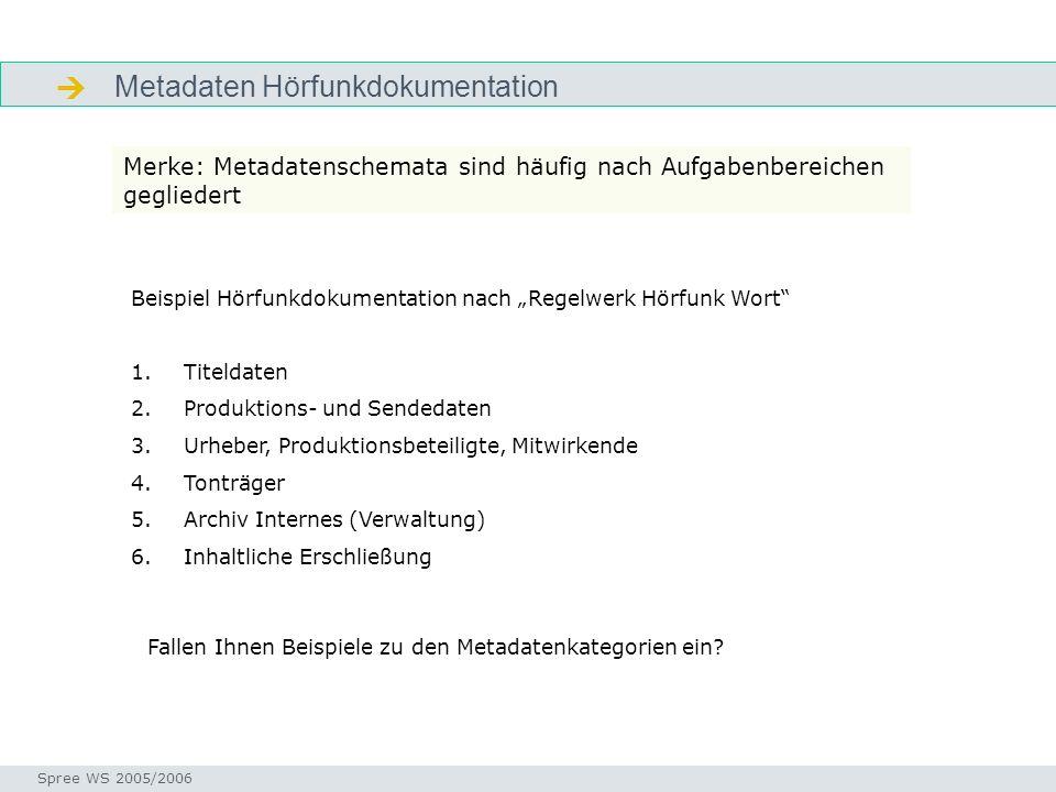  Metadaten Hörfunkdokumentation