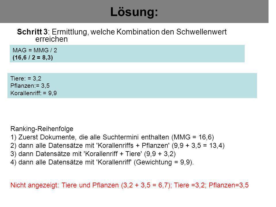 Lösung: Schritt 3: Ermittlung, welche Kombination den Schwellenwert erreichen. MAG = MMG / 2. (16,6 / 2 = 8,3)