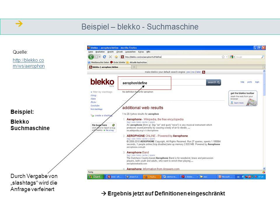 Beispiel – blekko - Suchmaschine