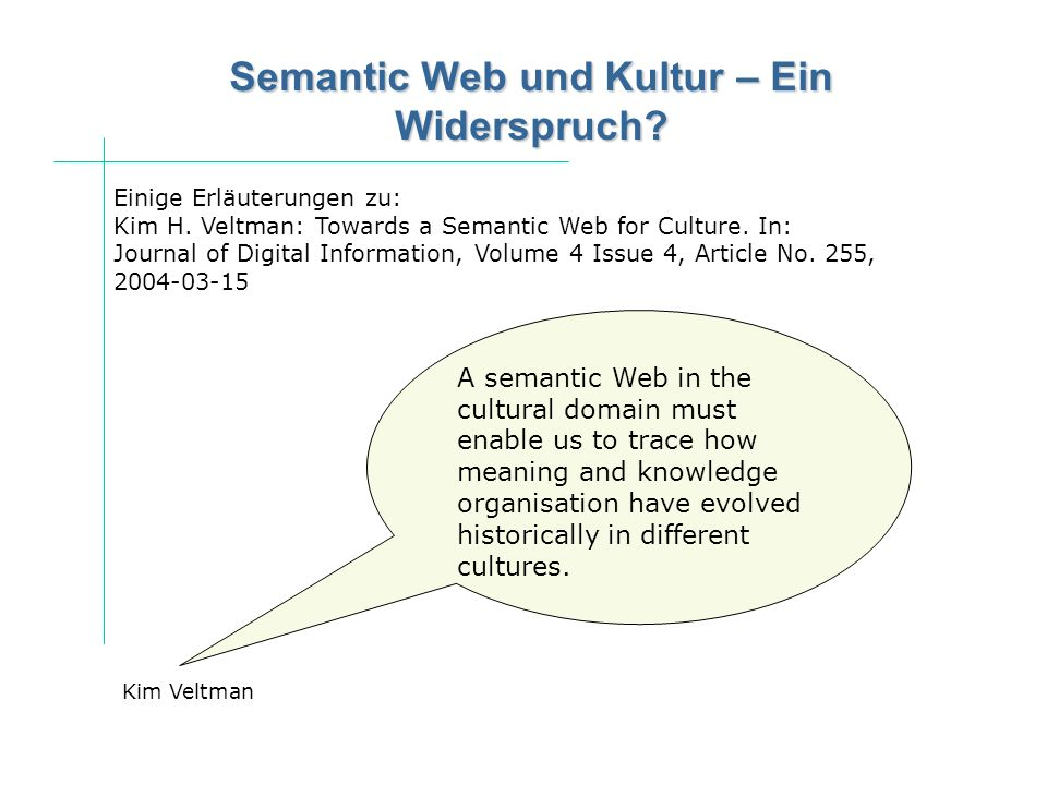 Semantic Web und Kultur – Ein Widerspruch