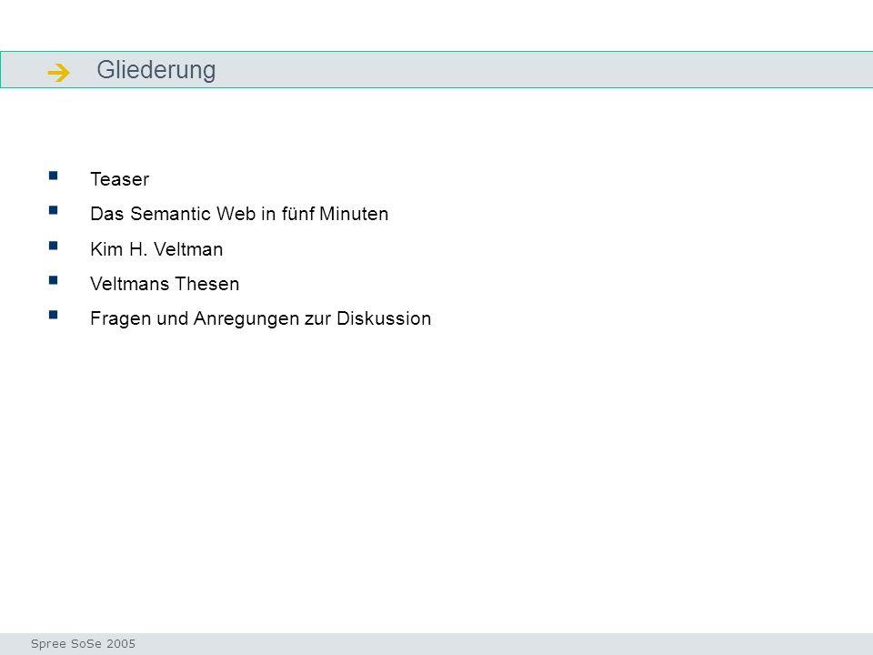  Gliederung Teaser Das Semantic Web in fünf Minuten Kim H. Veltman
