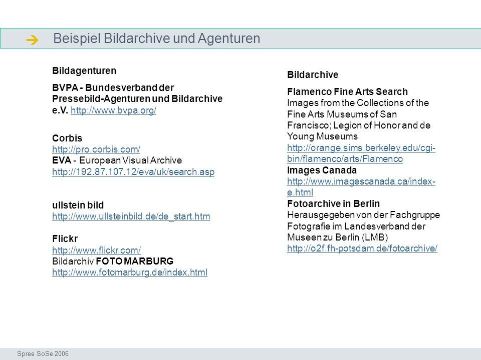  Beispiel Bildarchive und Agenturen Bildagenturen Bildarchive