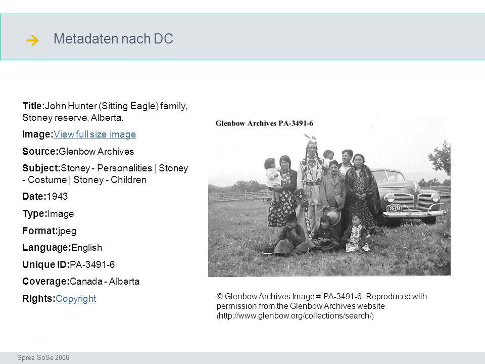  Metadaten nach DC. DC. Title:John Hunter (Sitting Eagle) family, Stoney reserve, Alberta. Image:View full size image.