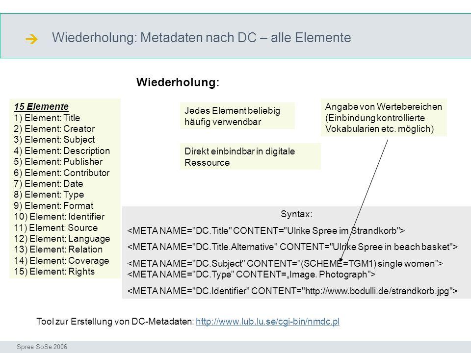  Wiederholung: Metadaten nach DC – alle Elemente Wiederholung: