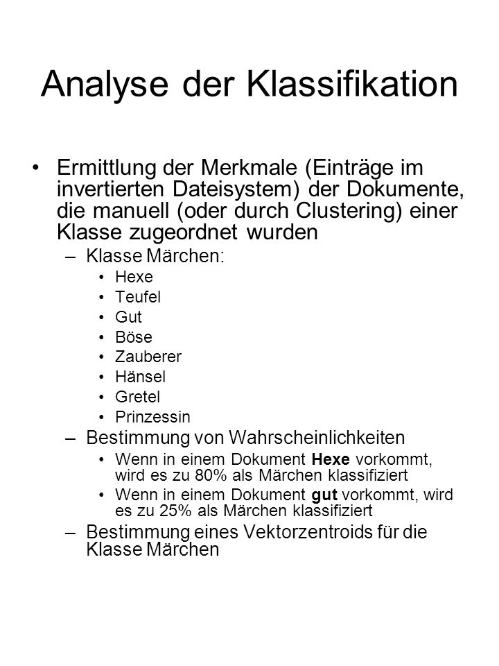 Analyse der Klassifikation