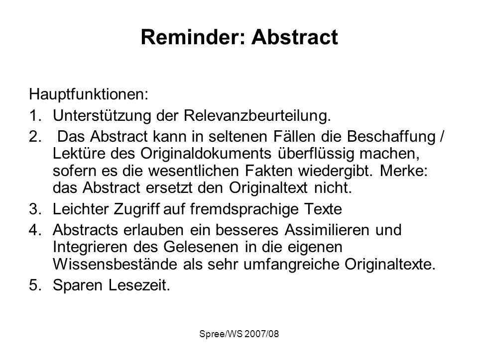 Reminder: Abstract Hauptfunktionen: