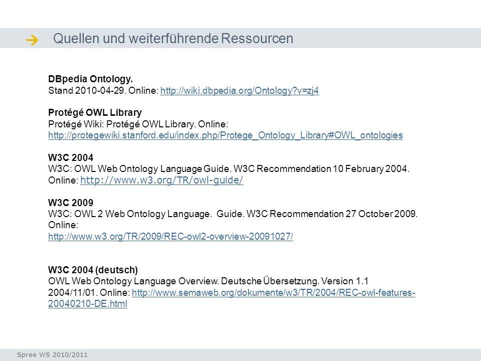  Quellen und weiterführende Ressourcen DBpedia Ontology.