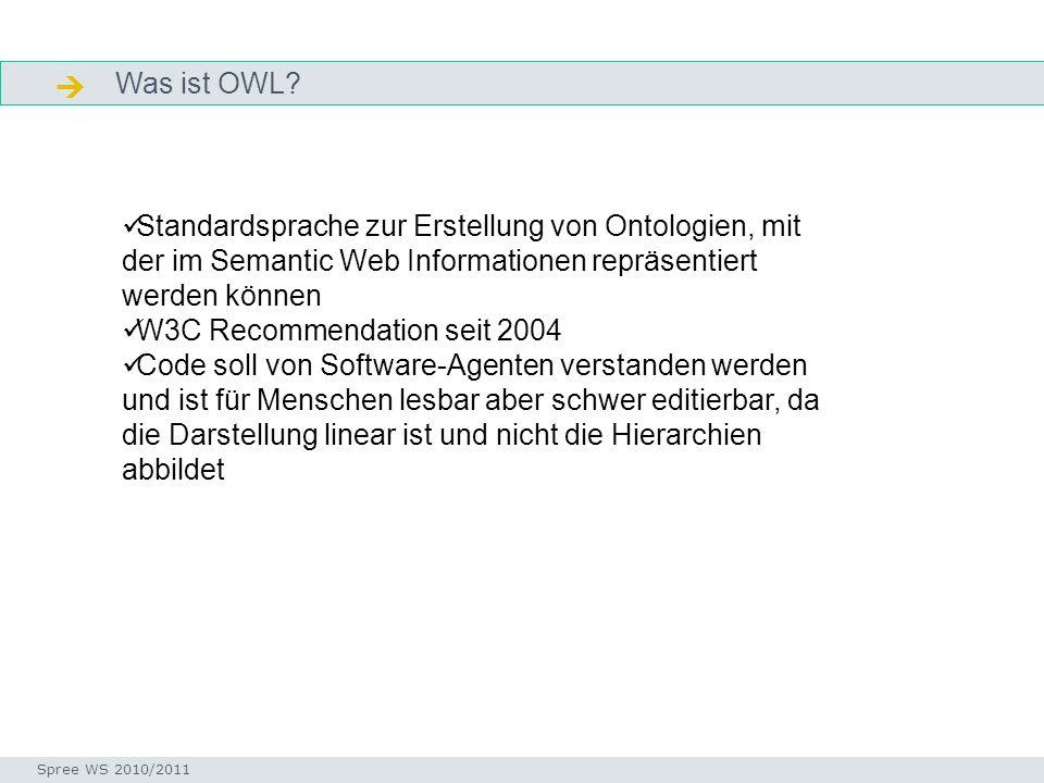  Was ist OWL Facetten. Standardsprache zur Erstellung von Ontologien, mit der im Semantic Web Informationen repräsentiert werden können.
