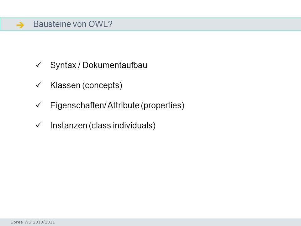 Bausteine von OWL Syntax / Dokumentaufbau Klassen (concepts)