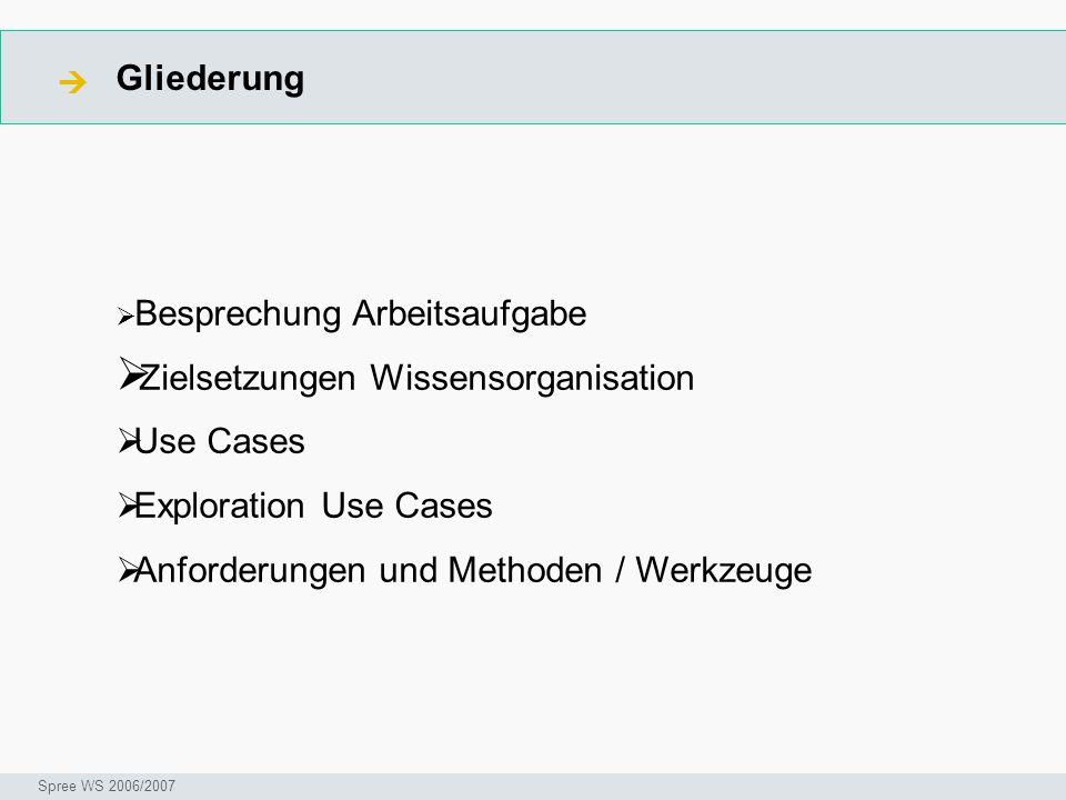 Zielsetzungen Wissensorganisation Use Cases Exploration Use Cases