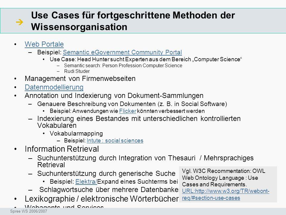 Use Cases für fortgeschrittene Methoden der Wissensorganisation