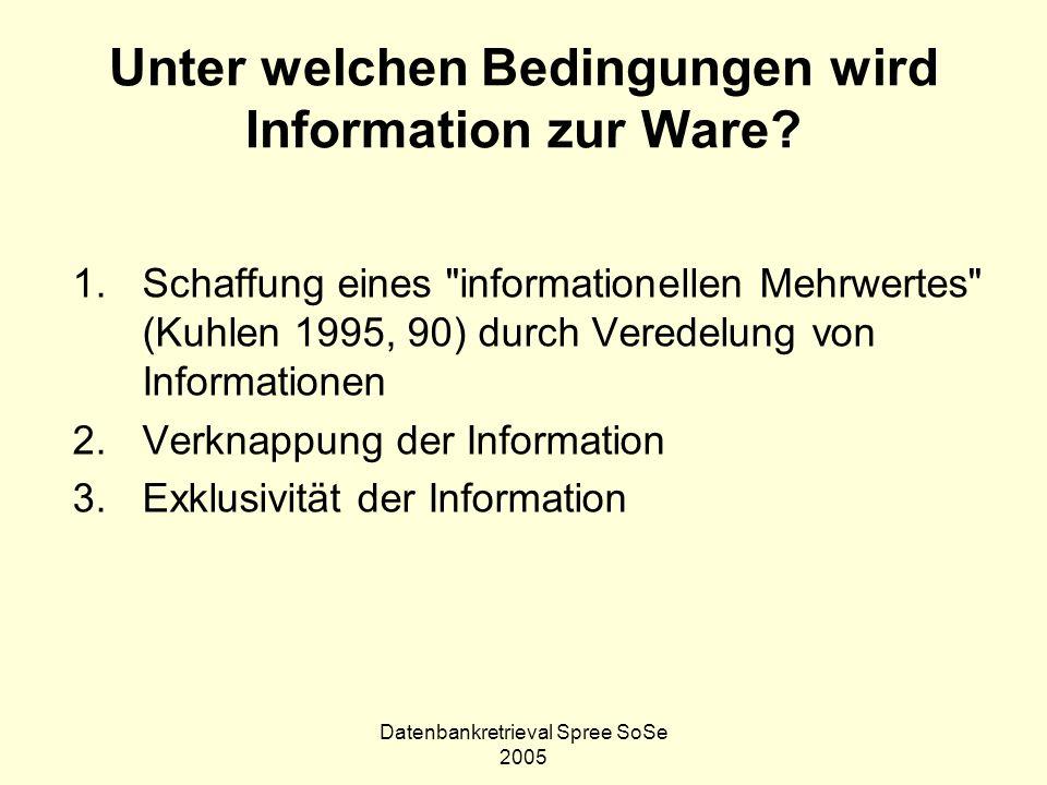 Unter welchen Bedingungen wird Information zur Ware