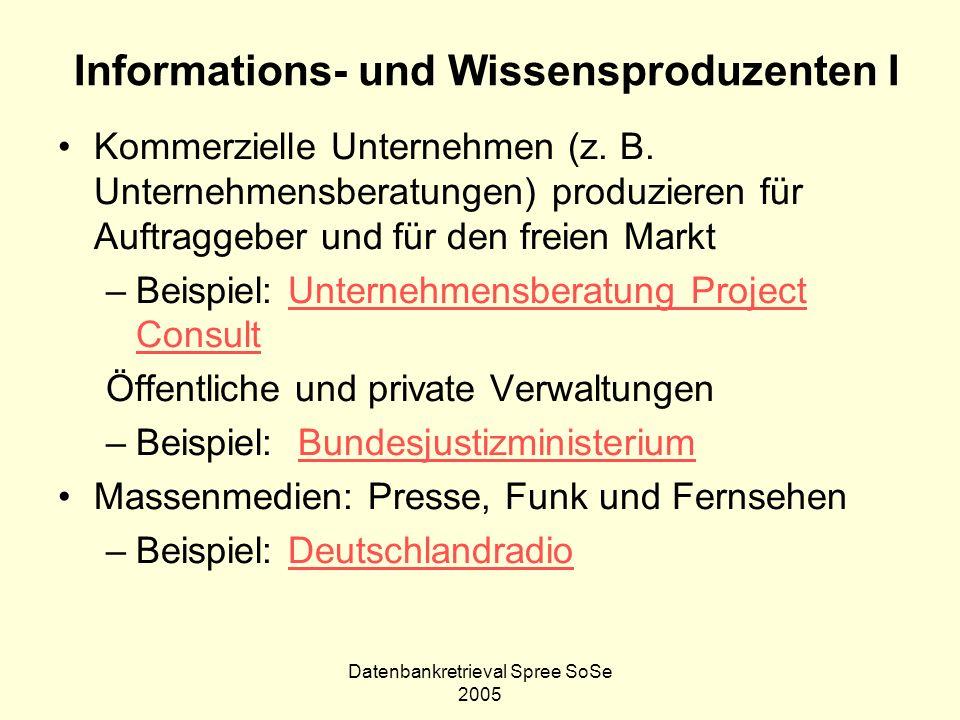 Informations- und Wissensproduzenten I