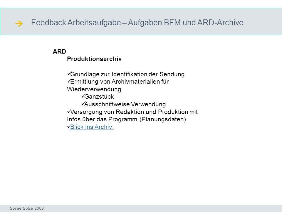  Feedback Arbeitsaufgabe – Aufgaben BFM und ARD-Archive ARD