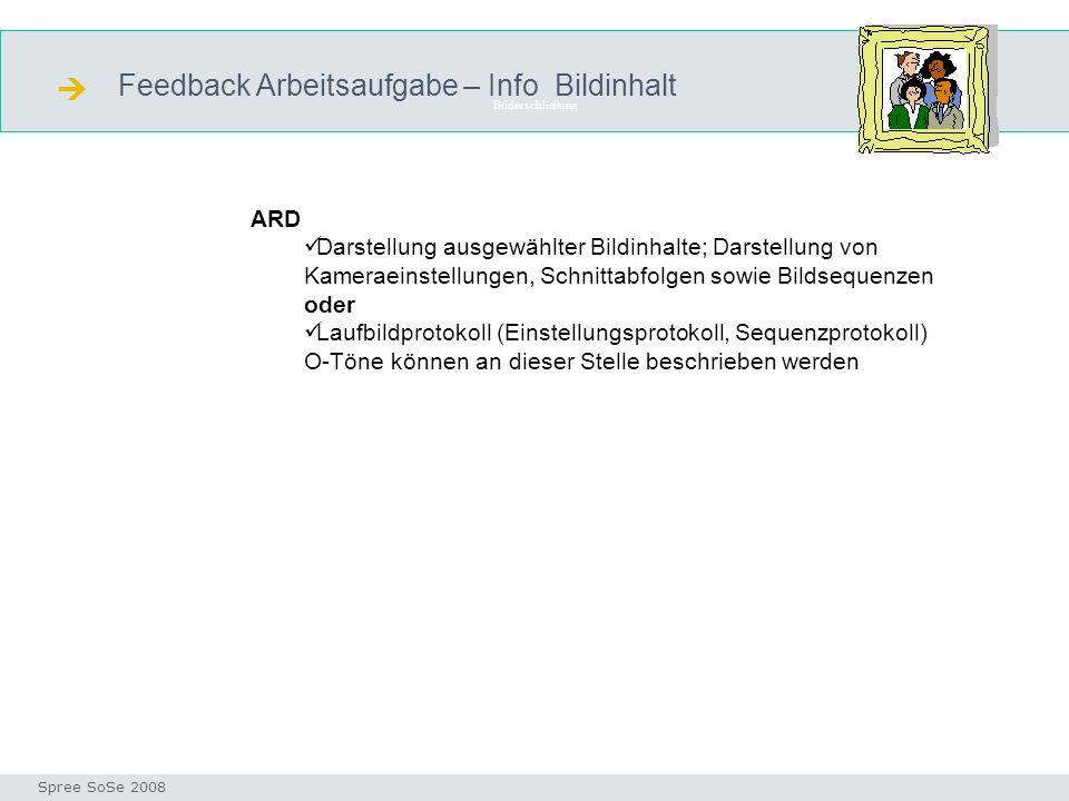  Feedback Arbeitsaufgabe – Info Bildinhalt ARD