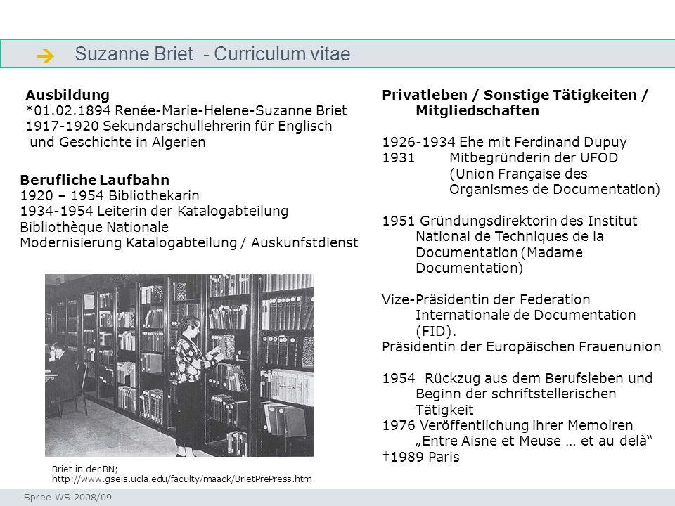  Suzanne Briet - Curriculum vitae Ausbildung