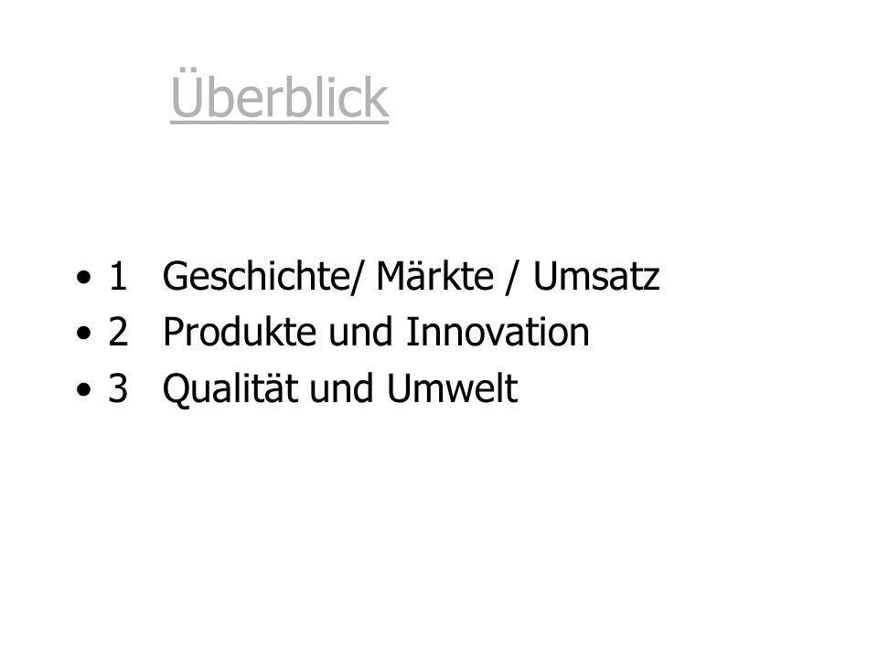 Überblick 1 Geschichte/ Märkte / Umsatz 2 Produkte und Innovation