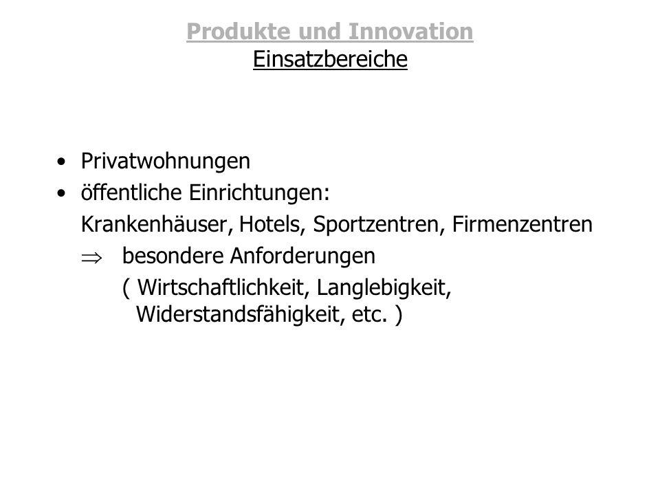 Produkte und Innovation Einsatzbereiche