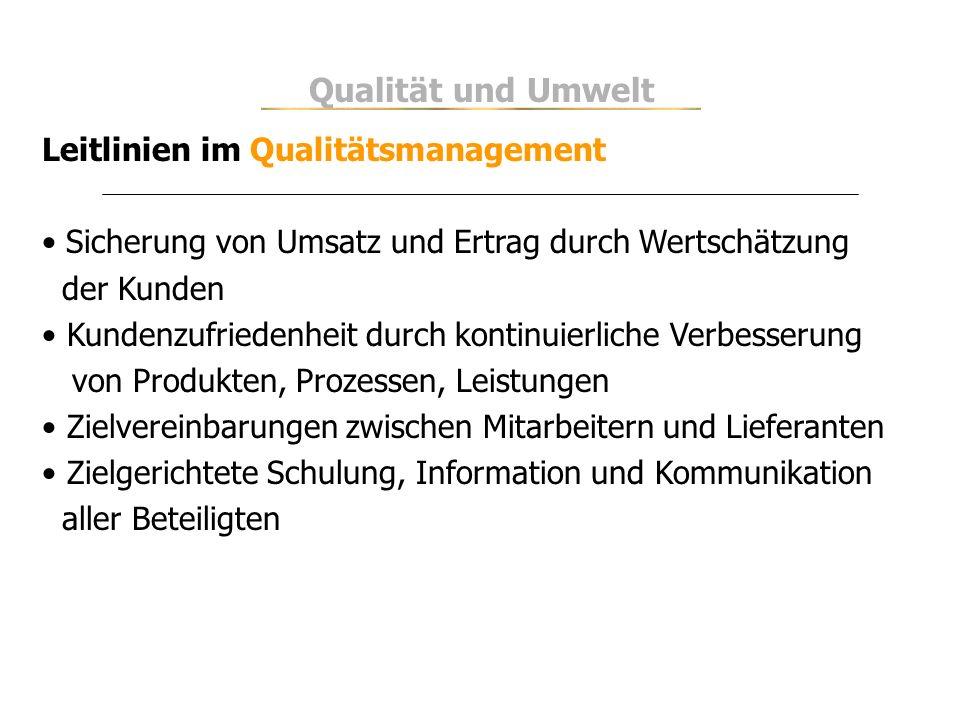 Qualität und Umwelt Leitlinien im Qualitätsmanagement