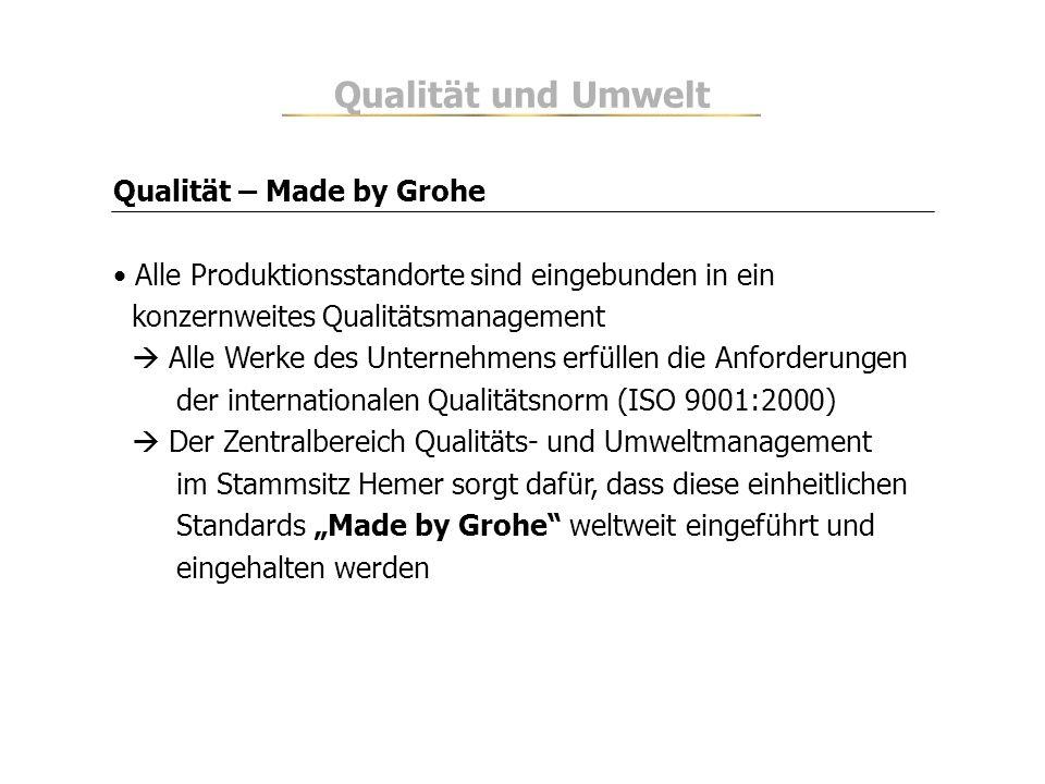 Qualität und Umwelt Qualität – Made by Grohe