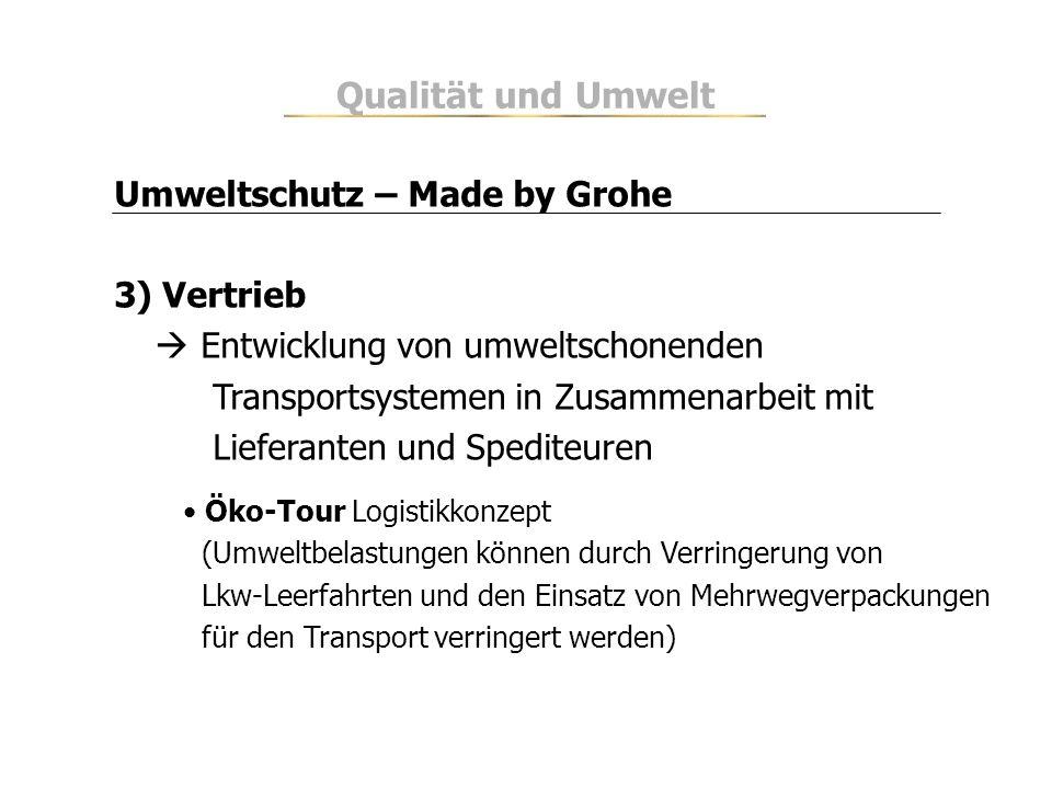 Qualität und Umwelt Umweltschutz – Made by Grohe 3) Vertrieb