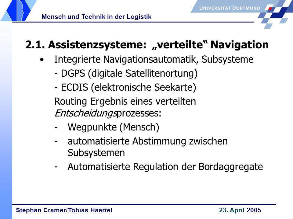 """2.1. Assistenzsysteme: """"verteilte Navigation"""