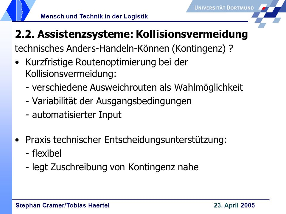 2.2. Assistenzsysteme: Kollisionsvermeidung