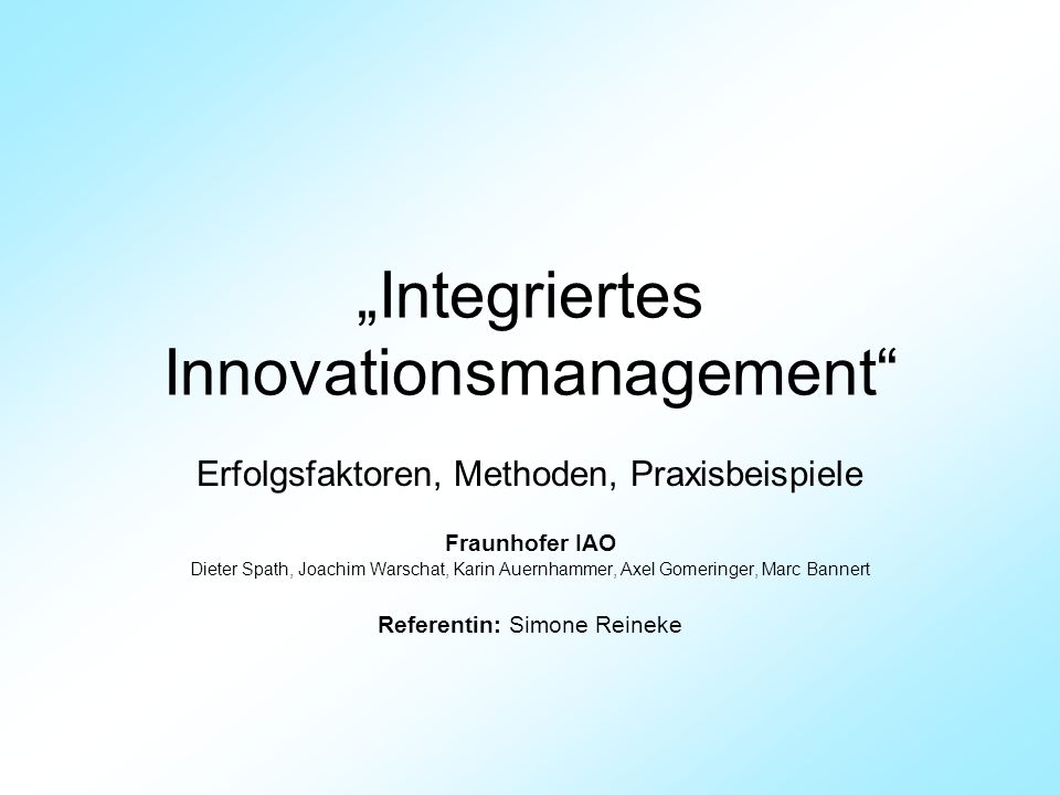 """Integriertes Innovationsmanagement"
