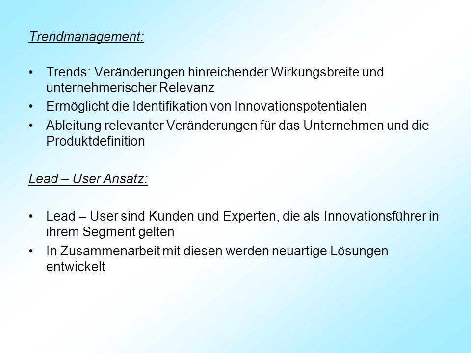 Trendmanagement: Trends: Veränderungen hinreichender Wirkungsbreite und unternehmerischer Relevanz.