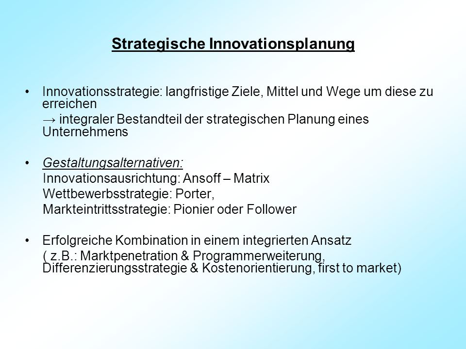 Strategische Innovationsplanung