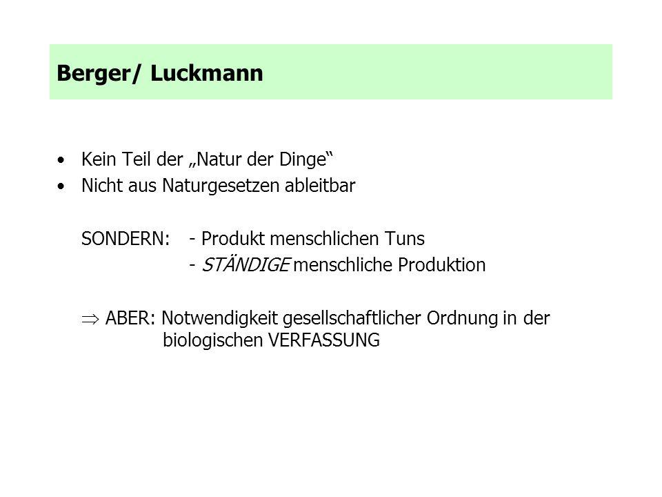 """Berger/ Luckmann Kein Teil der """"Natur der Dinge"""