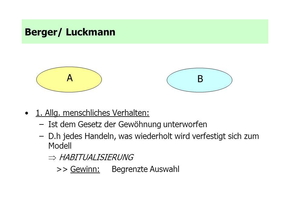 Berger/ Luckmann A B 1. Allg. menschliches Verhalten: