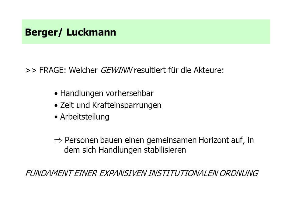 Berger/ Luckmann >> FRAGE: Welcher GEWINN resultiert für die Akteure: • Handlungen vorhersehbar. • Zeit und Krafteinsparrungen.
