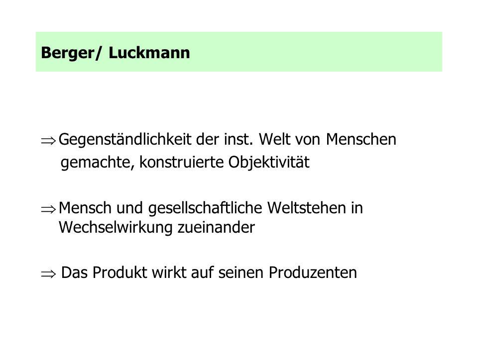 Berger/ Luckmann Gegenständlichkeit der inst. Welt von Menschen. gemachte, konstruierte Objektivität.