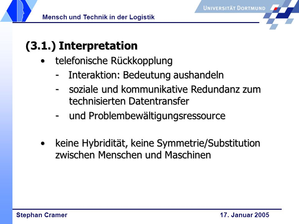 (3.1.) Interpretation telefonische Rückkopplung