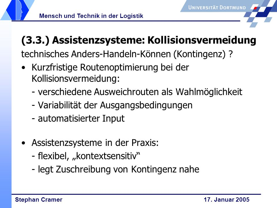 (3.3.) Assistenzsysteme: Kollisionsvermeidung