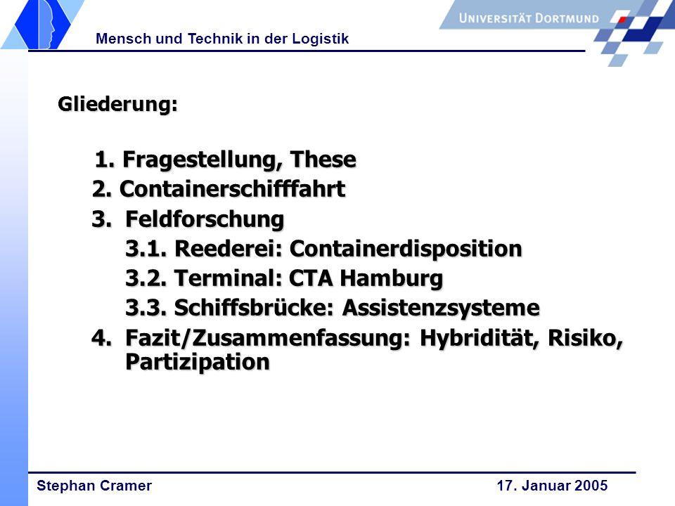 2. Containerschifffahrt 3. Feldforschung