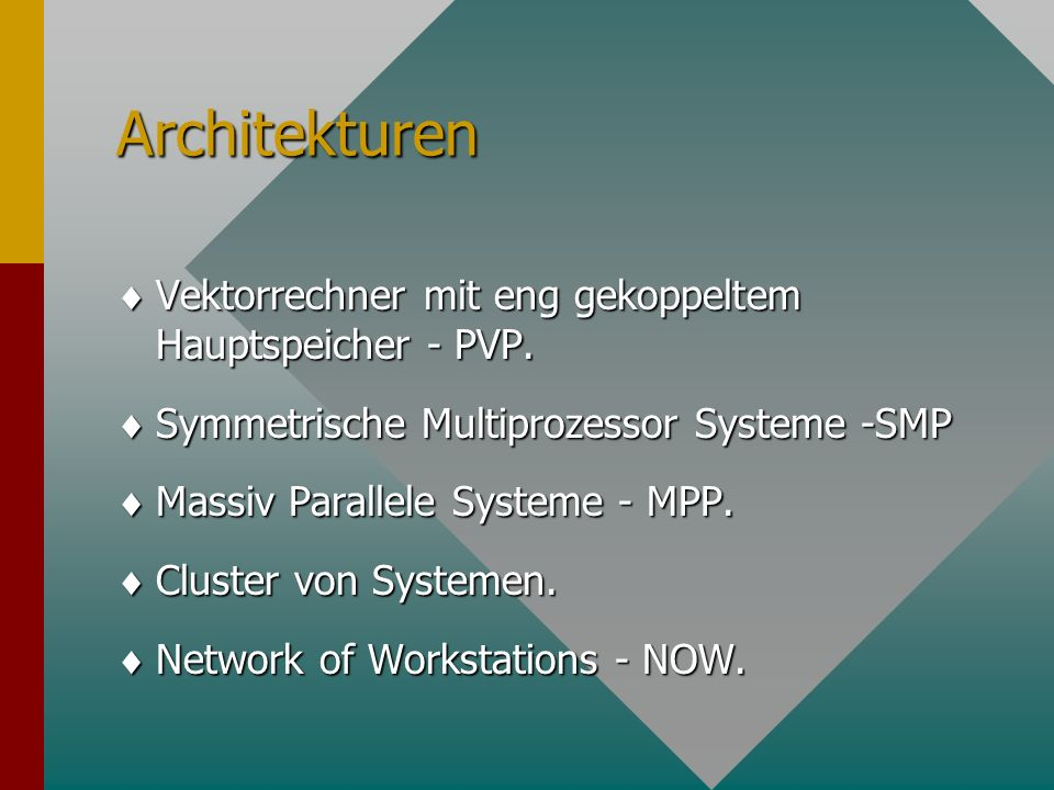 Architekturen Vektorrechner mit eng gekoppeltem Hauptspeicher - PVP.