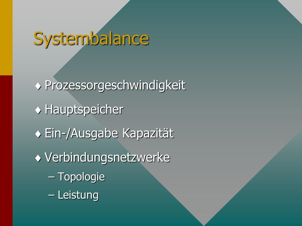 Systembalance Prozessorgeschwindigkeit Hauptspeicher