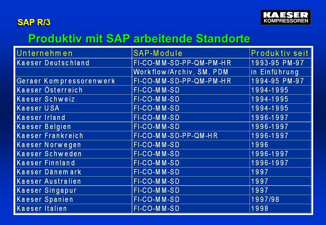 Produktiv mit SAP arbeitende Standorte