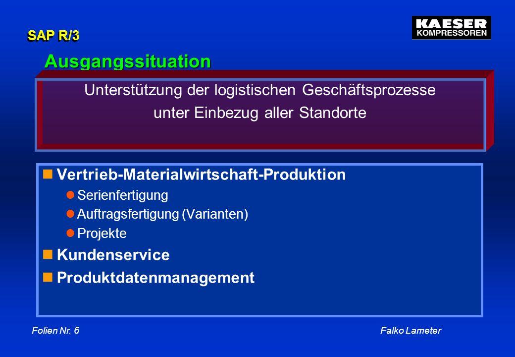 Ausgangssituation Unterstützung der logistischen Geschäftsprozesse