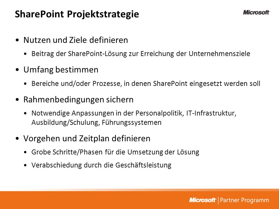 SharePoint Projektstrategie