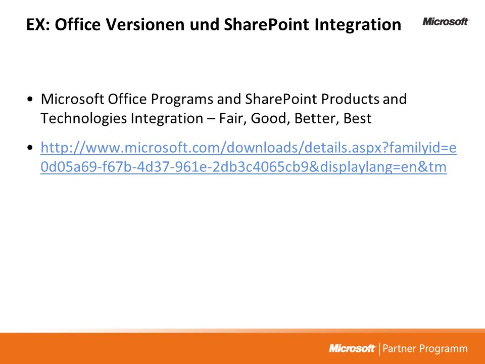 EX: Office Versionen und SharePoint Integration