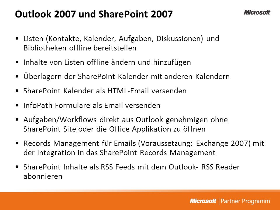 Outlook 2007 und SharePoint 2007