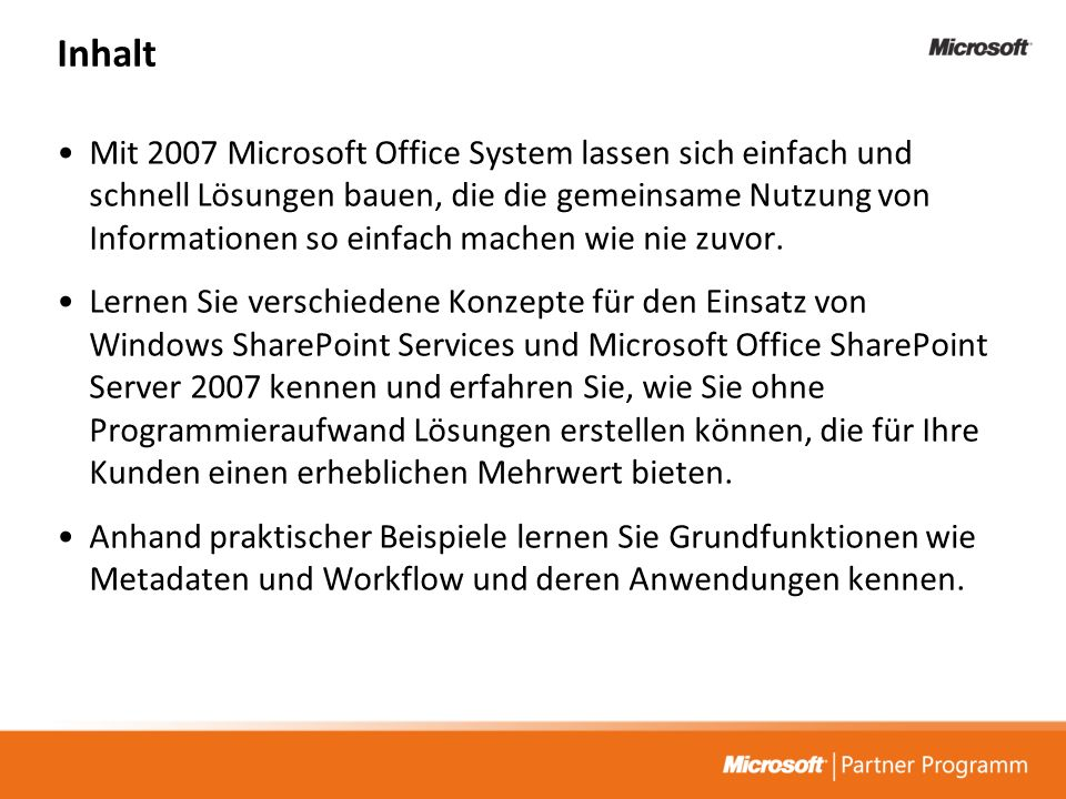 Tech@Night: Microsoft Office2007 und Office SharePoint Server 2007 –