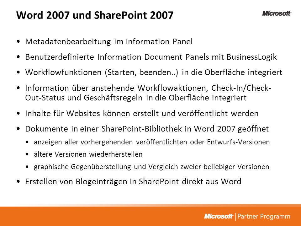 Word 2007 und SharePoint 2007 Metadatenbearbeitung im Information Panel. Benutzerdefinierte Information Document Panels mit BusinessLogik.