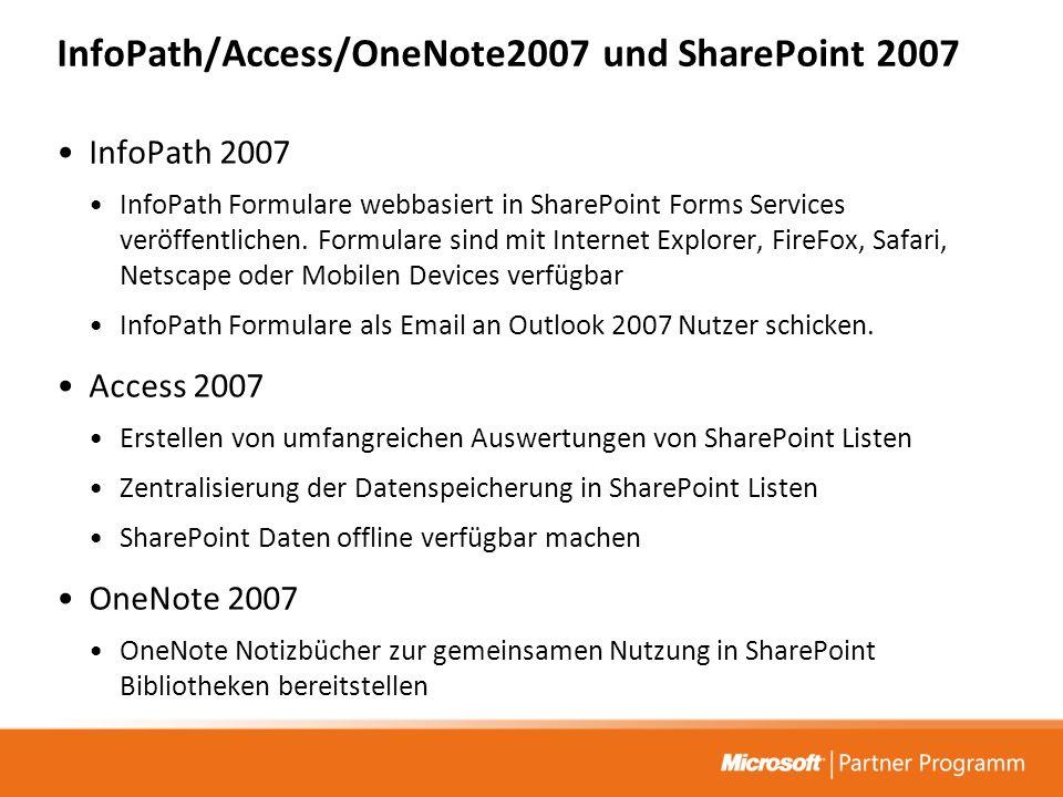 InfoPath/Access/OneNote2007 und SharePoint 2007