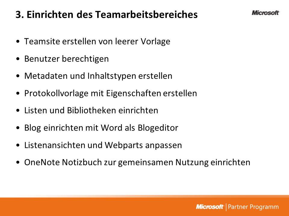 3. Einrichten des Teamarbeitsbereiches