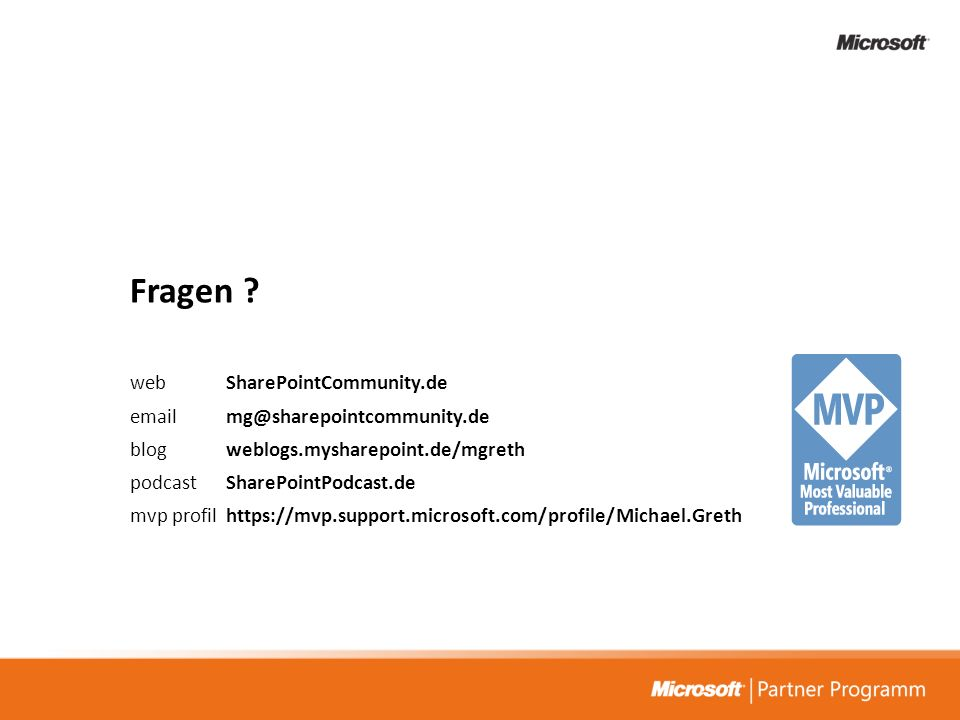 Fragen web SharePointCommunity.de email mg@sharepointcommunity.de