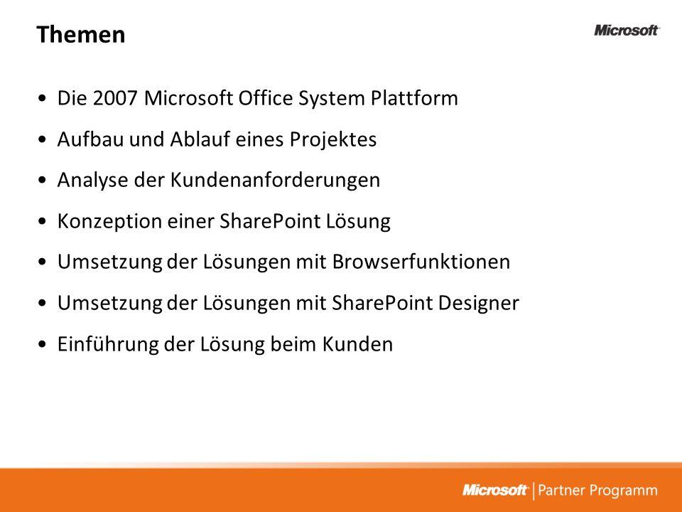 Themen Die 2007 Microsoft Office System Plattform